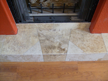 Fireplace Detail with Travertine