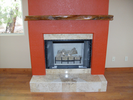 Fireplace with Travertine