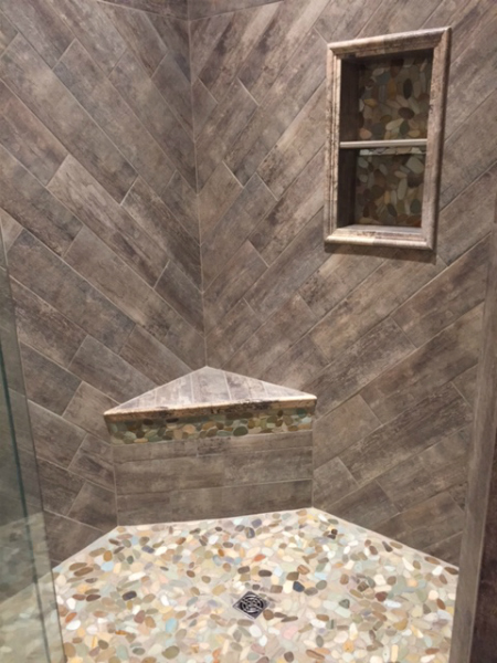 Woodgrain Tile Shower 1 - Wallace Carpet Barn McComb, MS